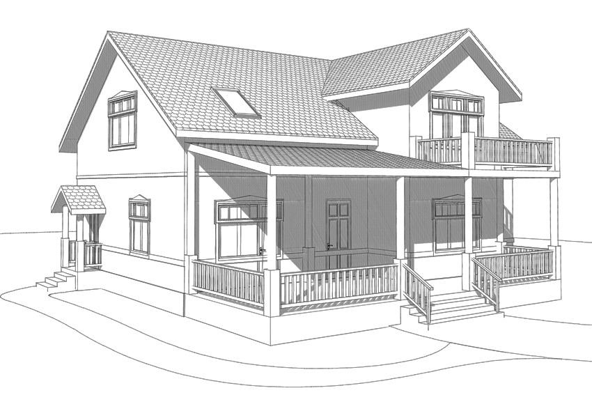 эскизы загородных домов: